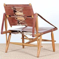 Vilhelm Wohlert; Beech, Leather and Cord Safari Chair, 1940s.