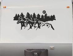 Equestrian Horse horseback Riding Trailer Camping RV Camper Vinyl Decal Sticker Graphic Mural HT228