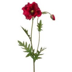 "26"" Silk Poppy Flower Spray -Red/Burgundy"