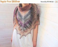 ON SALE Knitted triangular scarf wool shawl Smoke Hand Knit