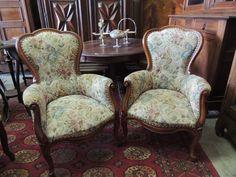 Coppia sedie poltroncine da camera Luigi Filippo in noce