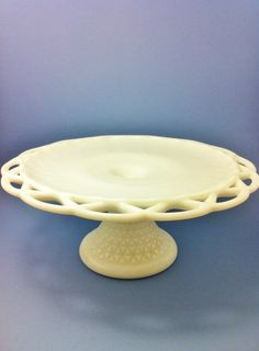 Milk Glass Cake Plate Stand Pedestal Open Lace Cutwork by Comforte, $50.00