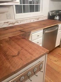 DIY reclaimed wood kitchen countertops, farmhouse kitchen, fixer upper style, old house Diy Butcher Block Countertops, Wooden Countertops, Kitchen Countertops, Reclaimed Wood Kitchen, Reclaimed Wood Furniture, Salvaged Wood, Rustic Country Kitchens, Farmhouse Style Kitchen, Diy Kitchen Cabinets