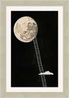 Reach for the moon and hang this symbolic artwork as a reminder that no one ever achieved anything without working for it. The whimsy of this giclee reproduction is housed in a warm silvertone frame to blend with any style. Graphic Design Posters, Graphic Design Typography, Graphic Design Illustration, Black And White Drawing, White Art, Black White, Black Moon, Wall Collage, Wall Art