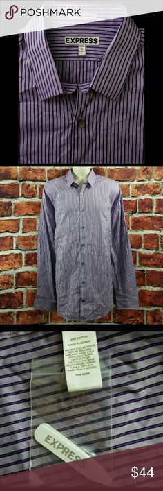 Men Express Purple Striped Extra Slim Fit XLT NWOT Mens Express Purple Striped Extra Slim Fit Dress Shirt Size:XLT 17-17.5 Tall NEW  About this item:  NWOT Standard Cuffs 100% Cotton Extra Slim Fit Awesome! Extra Collar Stays  Size: XL Tall 17-17.5 Across Chest: 23.5 Length: 33.5 Sleeve: 28.5 Express Shirts Dress Shirts