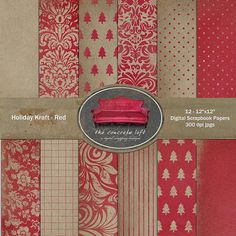 Digital Scrapbooking Grunge Paper Pack - Holiday Kraft Red