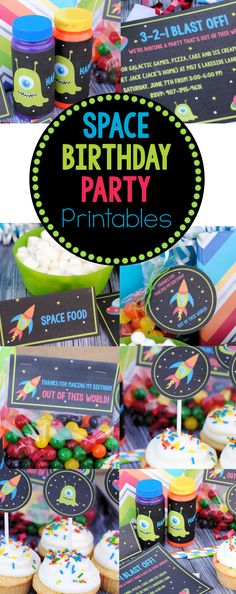 Space Birthday Party Printables: Invitations, Cupcake Toppers, Thank Yous, Signs and more