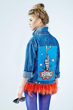 "Hand - painted denim jacket ""BANG"" Love that fringed, scruffy looking hemline."