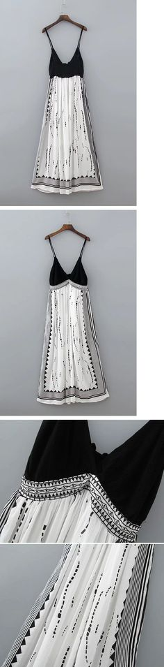Black and White Spaghetti Straps Maxi Dress