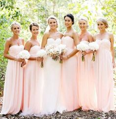 Exquisite Coral Bridesmaid Dresses A Line Sweetheart Floor Length Chiffon Backless Bridesmaid Dresses Cheap Custom Made B21