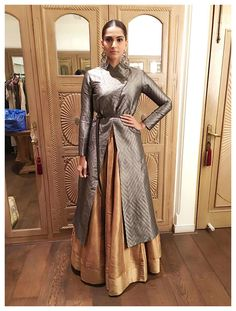 Sonam Kapoor in a payalkhandwala Brocade Jacket and Lehenga.