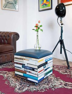 This creative book pouf is the ideal versatile bookish furniture. Use it in a home library, a cozy reading nook, or the living room!