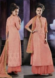 Party Wear Cotton Peach Embroidered Work Plazzo