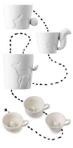 Animals as mugs. S o cute!