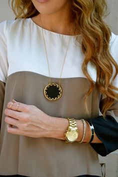 Ivory, Taupe, Black Color Block + cute jewelry