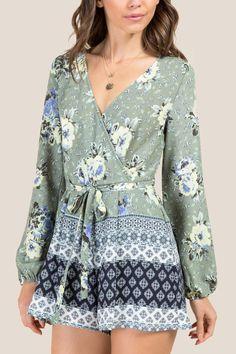 b52e6d0cd6af Briella Tie Back Floral Border Print Romper