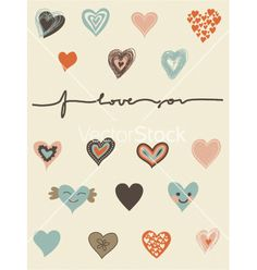 Love heart pattern vector typography - by ychty on VectorStock®