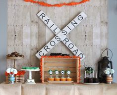 Railroad Crossing cakescape from Vintage Classic Train Themed Birthday Party at Kara's Party Ideas.