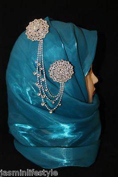 Ladies Diamante Double Chain Brooch Hijab Pin