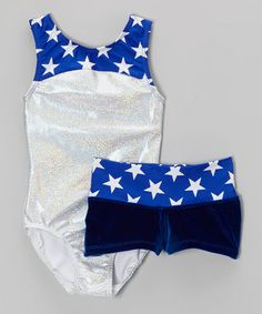 Take a look at this Blue Stars Silver Hologram Leotard & Velvet Shorts - Girls by Pelle Activewear on #zulily today!