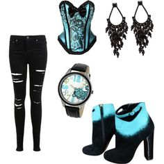 Blue Cheshire Cat Polyvore | fashion look from June 2015 featuring lace up corset, distressed ...