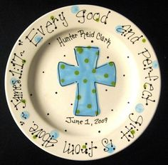 Items similar to Baptism Plate - Hand Painted Baby Plate with Cross - Great Baptism Gift on Etsy Sharpie Plates, Sharpie Crafts, Diy Sharpie Mug, Sharpie Pens, Baptism Gifts, Christening Gifts, Baptism Ideas, Pottery Painting, Ceramic Painting
