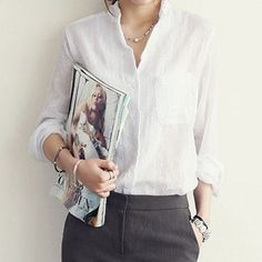 Women's Summer Linen Long Sleeve Collared Shirt Blouse