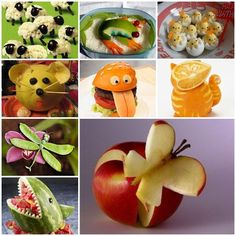 In this post we collect some of beautiful food crafts. Some of them are masterpieces. They are real artists. Hope you will find this collecton inspiring. Food Crafts, Diy Food, Cute Food, Good Food, Kreative Snacks, Fruits Decoration, Amazing Food Art, Food Sculpture, Food Garnishes