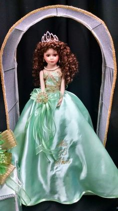 Mint and gold doll for $65! Add your name and date of your event for $5 more!!!