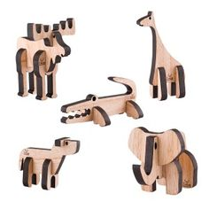 Kit de 5 animales de madera encastrable