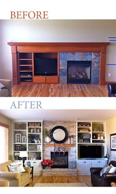 Fireplace and TV built-in remodel, fireplace built ins with tv off to side: For Your Home Fireplace Built Ins, Home Fireplace, Fireplace Design, Fireplaces, Fireplace Tiles, Fireplace Bookshelves, Living Room Redo, Living Room Remodel, Living Room Designs
