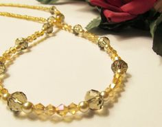 Olive & Gold Crystals with Pearls Necklace by RomanticThoughts