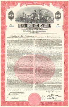 Bethlehem Steel Corporation > Pennsylvania manufacturing $1000 bond certificate