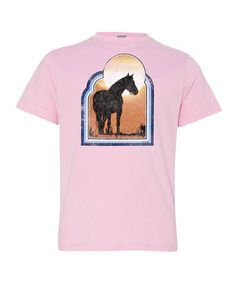 Love this Light Pink Vintage Sunset Horse Tee - Toddler & Girls on #zulily! #zulilyfinds