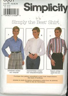 Simplicity 8061 Misses Shirt with variations - Size 14, 16, 18 UNCUT - Sewing Patterns