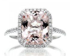 3 Carat Rhodolite Garnet Engagement Ring Baguette Diamond Ring | Etsy Cushion Diamond, Cushion Cut Diamonds, Morganite Engagement, Halo Diamond Engagement Ring, Morganite Jewelry, Morganite Ring, Diamond Jewelry, Jewelry Rings, Jewelry Box