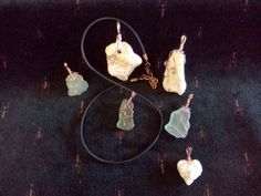 Wire wrapped coral and glass by Kathleen Scott
