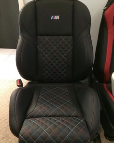 BMW M3 E36 black and red and blue grey interior diamond stitch