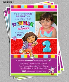 Dora The Explorer Birthday Party Photo Invitations by cgcdesignz