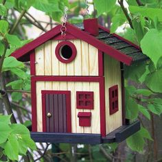 Bird House Cottage escandinava - rojo | Alimentos para las Aves