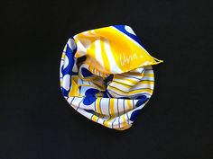 Vintage Vera Neumann Scarf Late 1950s - 1960s Geometric Vera Scarf, stripes and circles, yellow, blue & white, gift for mom, gift for her by TheDustyWingVintage on Etsy