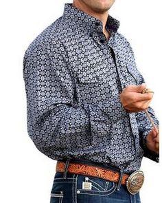 Cinch® Men's Long Sleeve Black with Purple Print Button Shirt