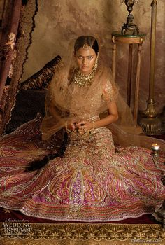 Indian wedding fashion - bridal ghagra choli or lehenga in orange and pink embroidered with sequins and white and multicolor kundan stones -- Indian Bridal Style: Lehenga Choli by Tarun Tahiliani Indian Wedding Fashion, Indian Bridal Wear, Asian Bridal, Bridal Fashion, Tarun Tahiliani, Indian Dresses, Indian Outfits, Saris, Indian Attire