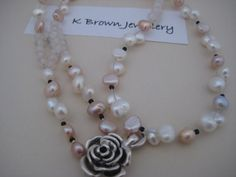 Rose Quartz Bead Necklace Pearl Natural by KBrownJewellery on Etsy, £52.00  A DOUBLE STRING NECKLACE DESIGN #etsy
