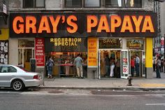 For the rest of Saturday and Sunday, my Dad and I bounced all over the city.  I made sure he did the food thing, taking him to Junior's for cheesecake, Gray's Papaya for hot dogs, and John's for Pizza. RIY pg. 215