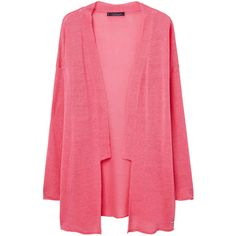 Violeta BY MANGO Linen Cardigan (320 RON) ❤ liked on Polyvore featuring tops, cardigans, cardigan top, long sleeve cardigan, linen tops, red long sleeve top and linen cardigan