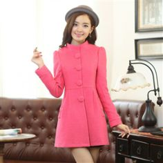 Cashmere Coat Large Buttons W Bow YRB0272
