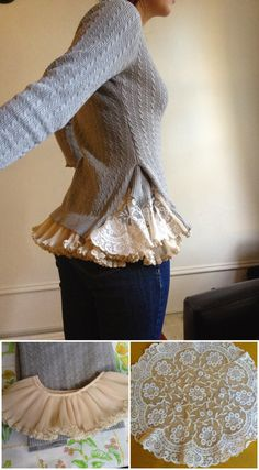 "Make a Romantic Lace Sweater from Pieces Homesteading - The Homestead Survival .Com ""Please Share This Pin"" Make a Romantic Lace Sweater from Pieces Homesteading - The Homestead Survival .Com Please Share This Pin Old Sweater, Lace Sweater, Diy Clothing, Sewing Clothes, Diy Fashion, Ideias Fashion, Recycled Sweaters, Sweater Refashion, Altered Couture"