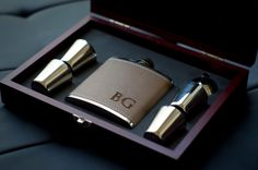 Monogrammed Leather Flask - Perfect Groomsmen Gifts - Engraved 6oz Stainless Steel Flask Wrapped In Leather by ThePersonalizedGift on Etsy https://www.etsy.com/listing/207580690/monogrammed-leather-flask-perfect