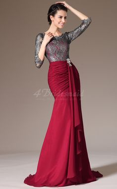 Scoop Neck Long Mermaid Burgundy Chiffon and Lace Bridesmaid Dress with Long Sleeves -JT1360